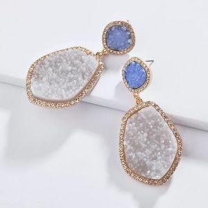 Anthro Quartz Drop Earrings in Blue
